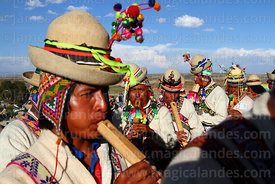 Musicians playing tarkas, a type of wooden flute, Orinoca, Bolivia