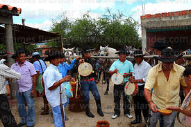 Gauchos playing cajas (drum) during carnival, Canasmoro, Tarija Department, Bolivia