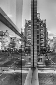 Cityscape | Black and white canvas wall art | for sale | Reflections of Manchester