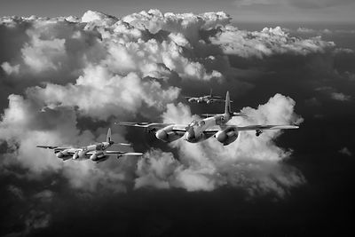 RAF Mosquitos above clouds black and white version
