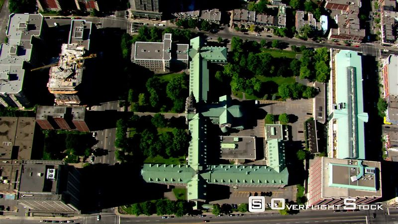 Aerial view of Grey Nuns' Convent in Montreal, Quebec.