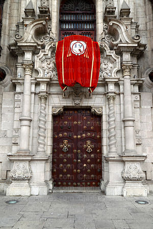 Detail of entrance facade of Archbishop's palace, Lima, Peru