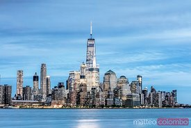 Lower Manhattan skyline and freedom tower, New York, USA
