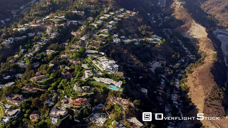 Aerial View Of Houses In The Hollywood Hills, RED R3D 4k California