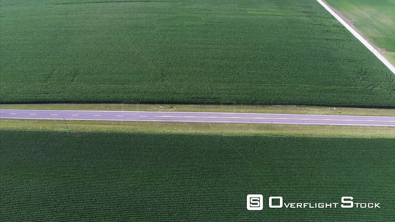 Drone Video of a Country Road in Rural Indiana Corn Farming.
