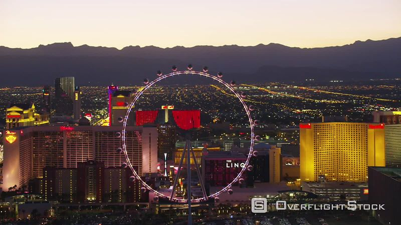 Las Vegas, Nevada Aerial view of the High Roller Las Vegas Ferris wheel on the Las Vegas Strip.  Shot with Cineflex and RED EpicW Helium.