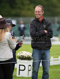 Jonty Evans at the trot up, Land Rover Burghley Horse Trials 2017