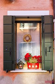 Window decorated for Christmas, Murano, Venice, Italy