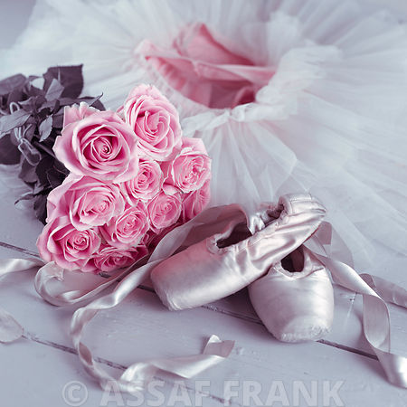 Ballet shoes and elegant ballet skirt with bunch of roses