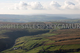 Lancashire Farm land aerial photograph looking across the ancient Moorlands landscape of Inchfield and Todmorden Moors