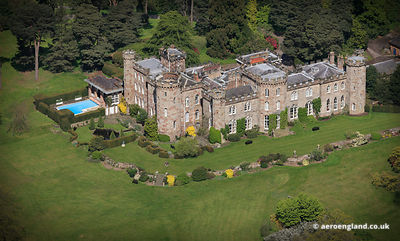 aerial photograph of Cholmondeley Castle Cheshire England UK