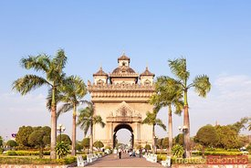 Laos, Vientiane. Patuxai Gate in Thannon Lanxing area