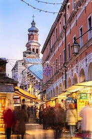 Rialto bridge with people at Christmas time, Venice