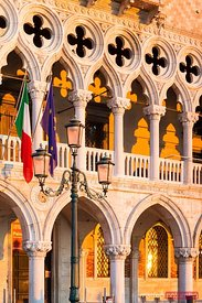 columns and arches of Doge's palace, Venice, Italy