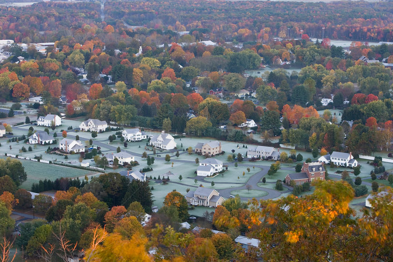 Aerial view of a subdivision in South Deerfield, Massachusetts, USA, as seen from South Sugarloaf Mountain in the Sugarloaf Mountain State Reservation, October 2006