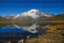Mt Huayna Potosí  reflected in small lake, Cordillera Real, Bolivia