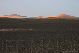 Sun-lit sand dunes and sun-burned desert stones