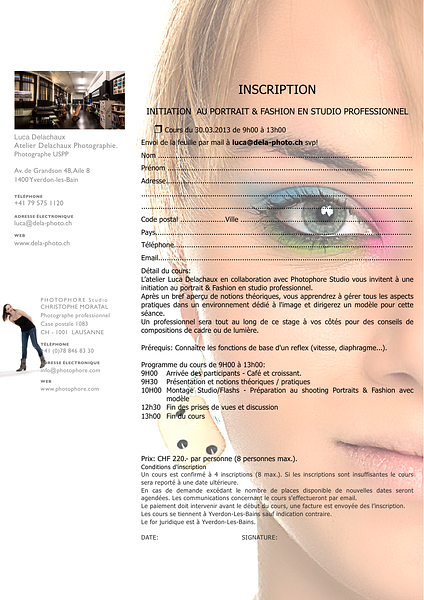 INITIATION AU PORTRAIT & FASHION EN STUDIO PROFESSIONNEL