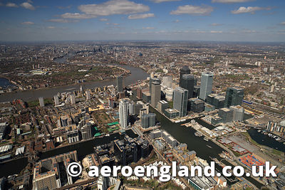 aerial photograph of Canary Wharf Docklands   London UK