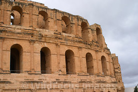 The outer facade of the amphitheatre of Thysdrus, El Jem, Tunsia; Landscape