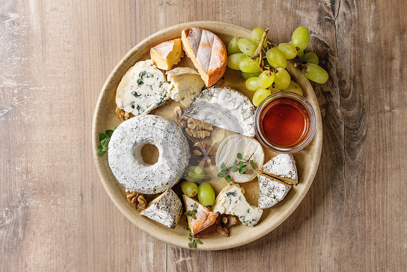 Cheese plate with honey