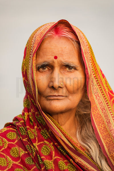 Portrait of a Woman at the Chhat Puja Festival at Varanasi