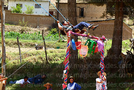 Woman on a wallunk'a / swing during Todos Santos festival, Morochata, Cochabamba Department, Bolivia
