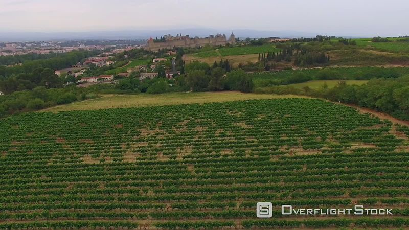 Drone Video of Vineyards and The Historic town of Carcassonne France.