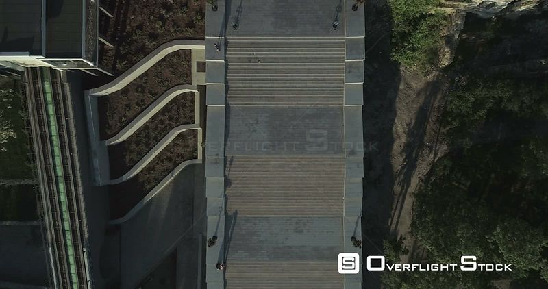 Aerial camera looks directly down on the Potemkin Stairs Odessa Ukraine. The camera then descends slowly