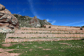 Stone terraces in Early Intermediate period site of Pucará , Peru