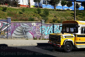 Old fashioned micro bus driving past Andean hairy armadillo mural, La Paz, Bolivia