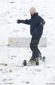 People sledging on Burrough Hills, Leicestershire
