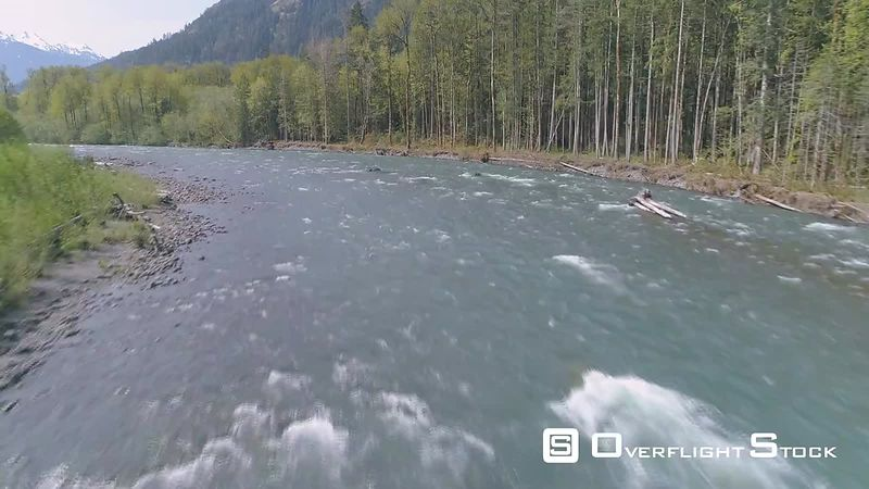 Drone Video low altitude on the Elwha River Washington State