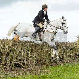 Dominic Gwyn-Jones jumping a hedge near Gartree Covert
