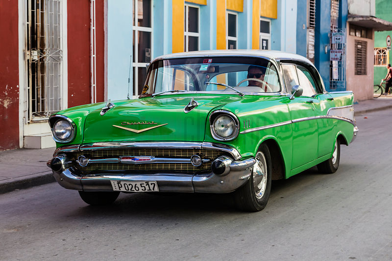 Green 55 Chevrolet in the Streets of Holguin