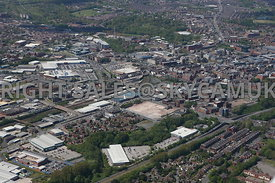 Bolton high level aerial view looking from the Trinity Retail Park towards Central Retail Park Bolton railway Station and Bolton town Centre
