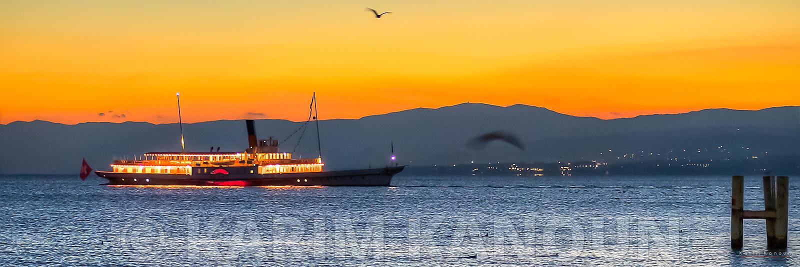 Panorama - CGN steam boat sunset cruise