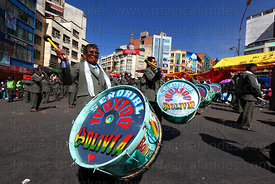 Señorial 100x100 marching band during parades for Gran Poder festival, La Paz, Bolivia