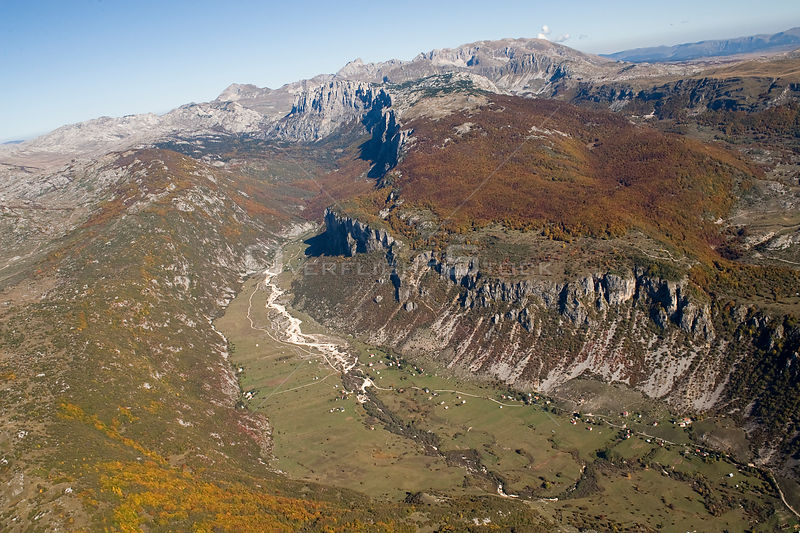 Aerial view of Komarnica Canyon, Durmitor NP, Montenegro, October 2008