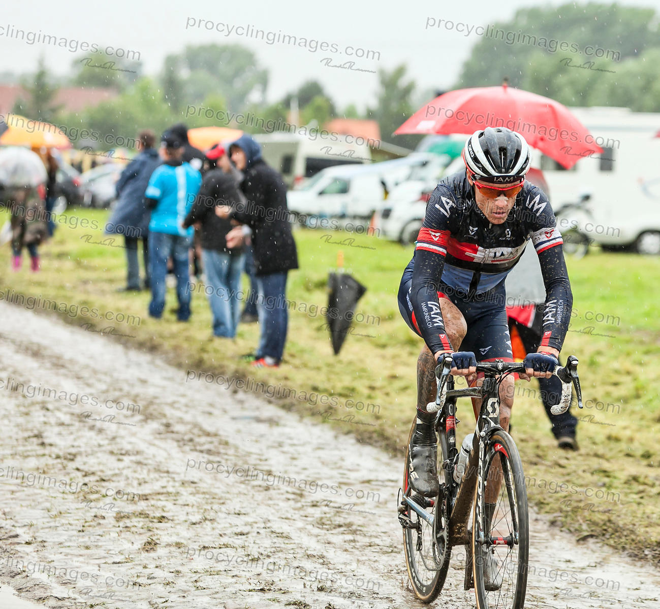 The Cyclist Sylvain Chavanel on a Cobbled Road - Tour de France 2014