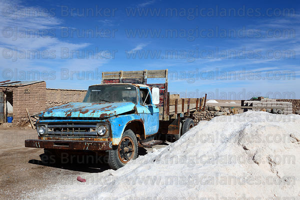 Vintage Ford truck and pile of salt to be processed , Colchani , Bolivia