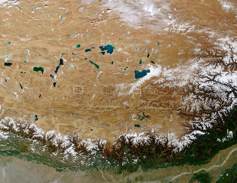 EARTH Great Himalayan Range / Tibetan Plateau -- 27 Oct 2002 -- The Himalayan Mountain Range runs a curving path from west to east in this true-color Terra MODIS image.