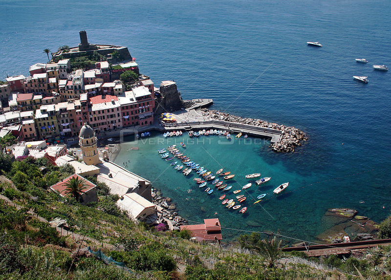 Hilltop view of Vernazza village and harbour, Cinque Terre, Italy, 2006.