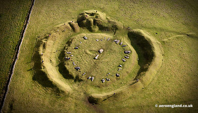 aerial photograph of Arbor Low  in the Peak District Derbyshire England UK.