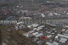 Widnes high level aerial photograph looking across old disused industrial land towards Dennis road and Fiddlers Ferry road towards Ashley Way and the retail parks and town centre