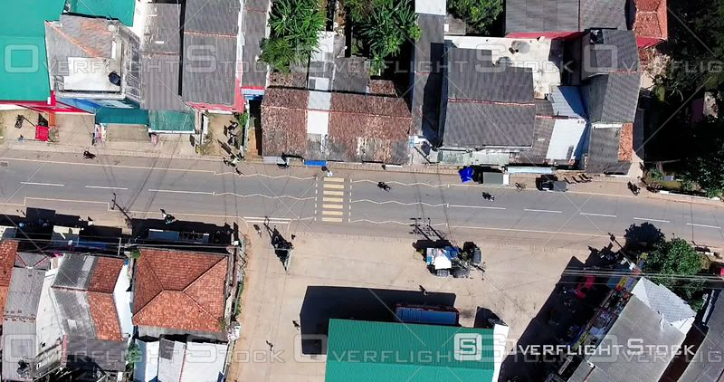 Aerial View of a City Street in Sri Lanka, Filmed by Drone