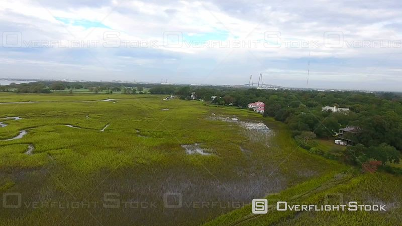 4k Aerial of Wet Grass Lands in Charleston South Carolina