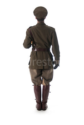 A first world war British officer, Standing to attention – shot from mid level.