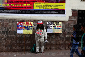 Anti capitalist indigenous politician Atipaq campaigning in streets of Cusco, Peru