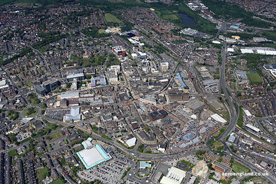 aerial photograph of Barnsley South Yorkshire England UK